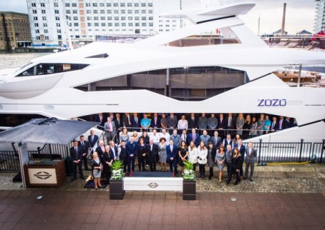 The Sunseeker London Team in front of the Sunseeker 131 Yacht 'ZOZO' which officially launched in January this year