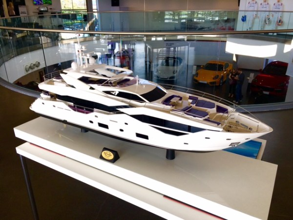 The stunning Sunseeker 116 Yacht overlooking the Porsche Silverstone Atrium