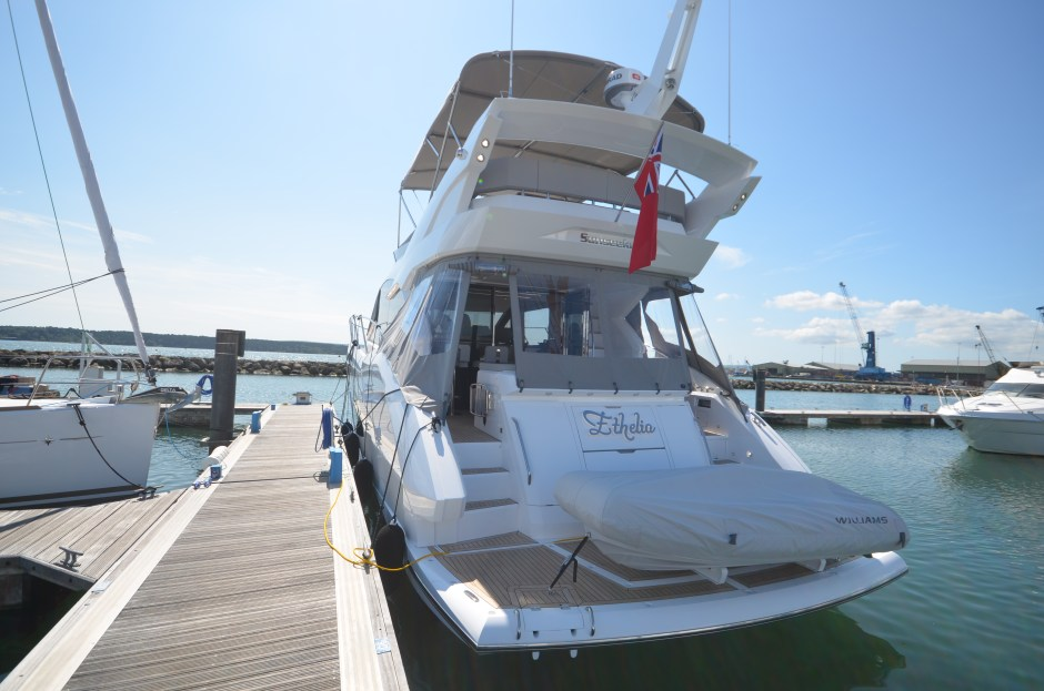 HANDOVER: Tom Bentley of Sunseeker Poole successfully completes the handover of 'ETHELIA', a new Manhattan 52