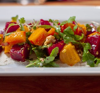 Organic Beet Salad with Point Reyes Blue Cheese, Pistachios and Arugula - A healthy beet salad you could eat everyday.