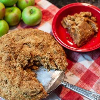 Apple pie on red and white checkered napkin, with a pile of apples, cinnamon sticks and bowl with a slice of pie