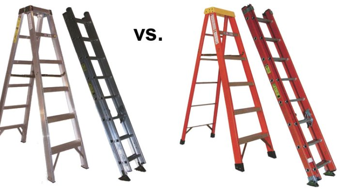 difference between buying aluminum ladders or buying fiberglass ladders