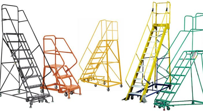 photo showing a variety of rolling warehouse safety ladders