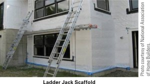 ladder jack scaffold in use