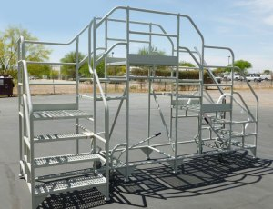 photo showing double entry rolling warehouse safety ladder