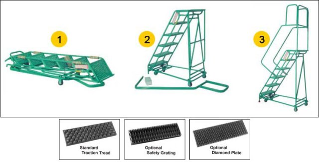 fold away rolling warehouse safety ladder