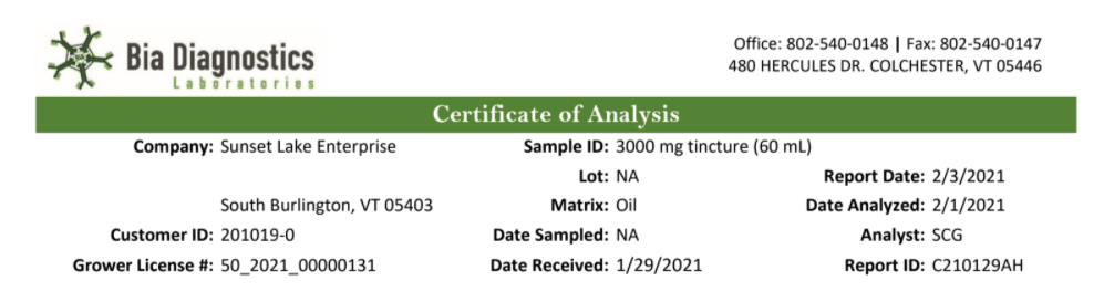 Top of 3,000mg CBD Oil Tincture Certificate of Analysis