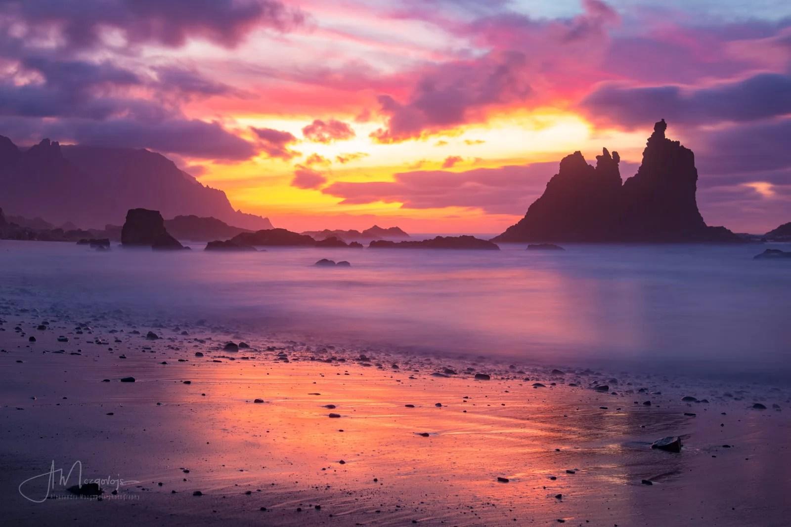 Sunset at Benijo Beach