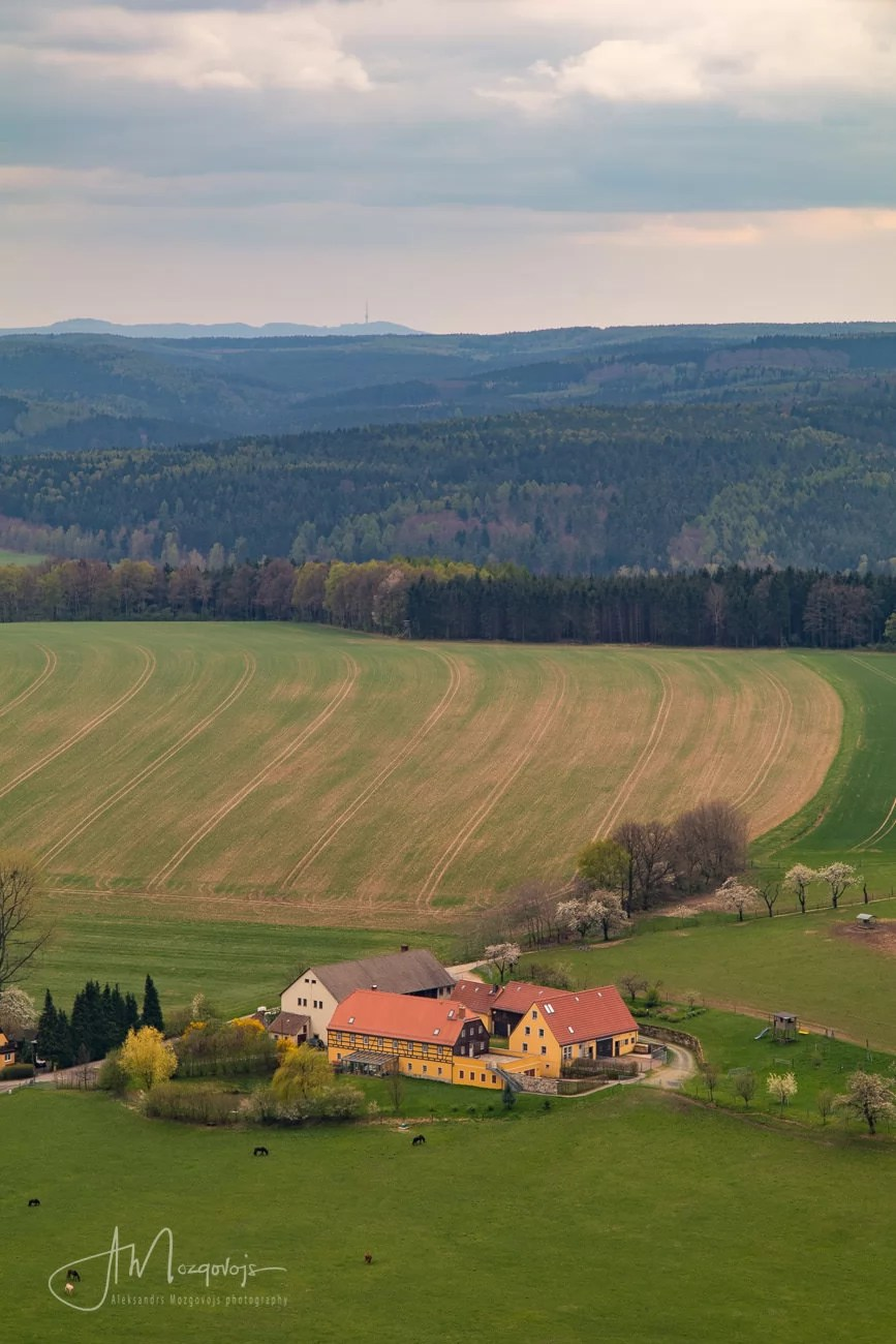 German countryside, as seen from the top of Papstein rock formation in Saxon Switzerland, Germany