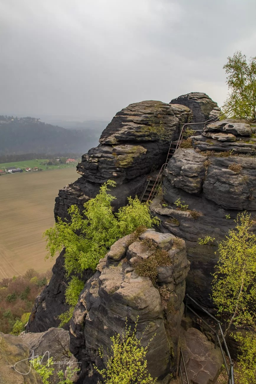 Stairs leading to the top of Lilienstein rock formation, Saxon Switzerland, Germany
