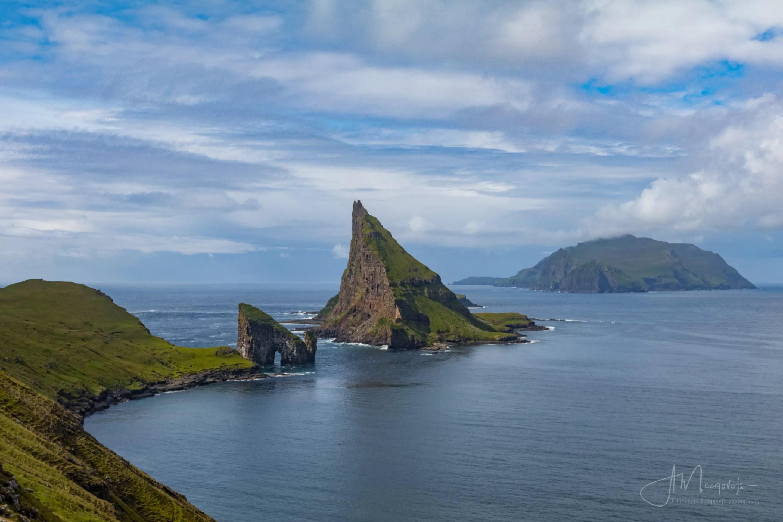 Islands of Drangarnir, Tindholmur and Mykines as seen from the hike to Drangarnir