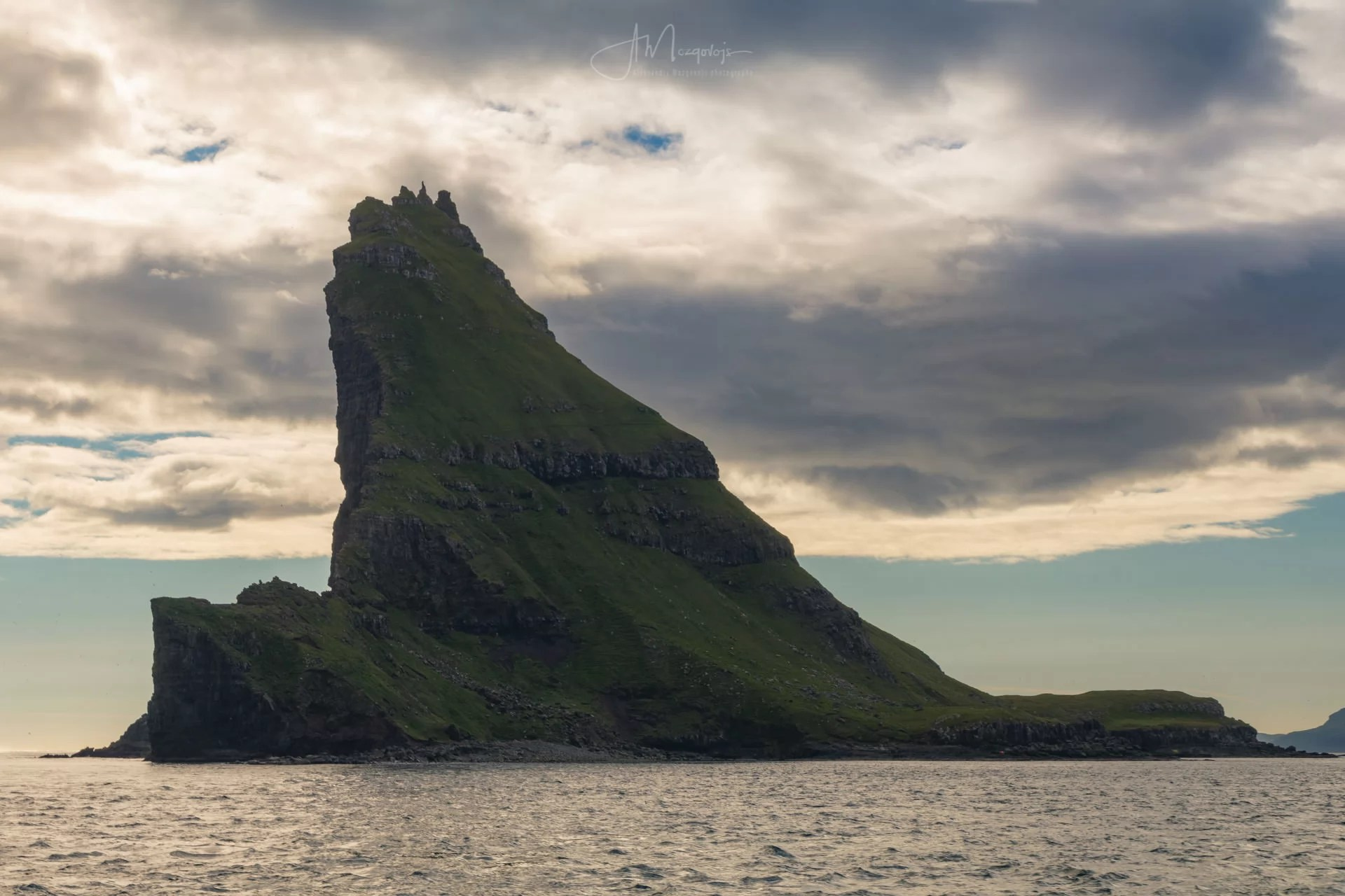 View of Tindhólmur from the ferry