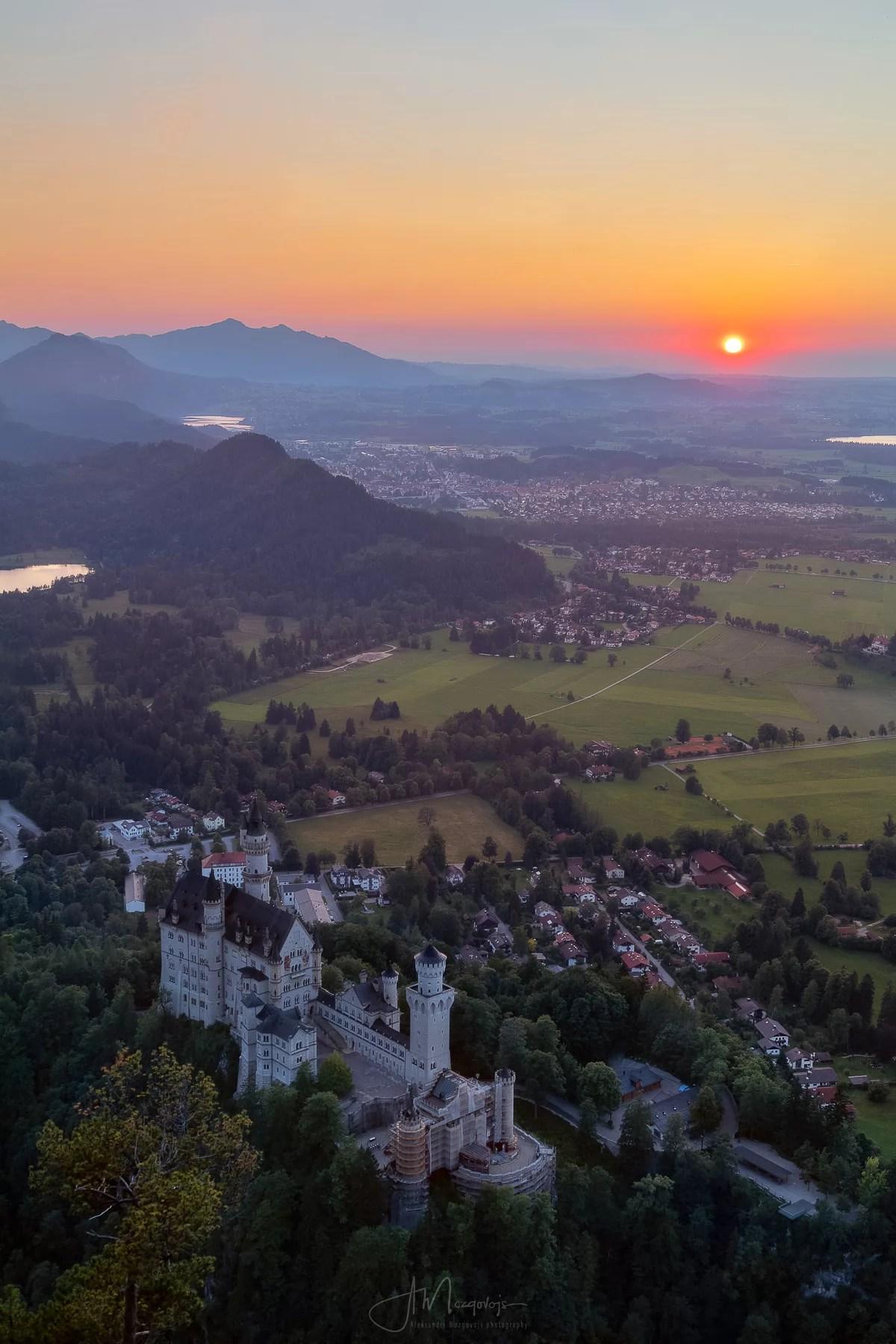 Fabulous sunset over castle Neuschwanstein