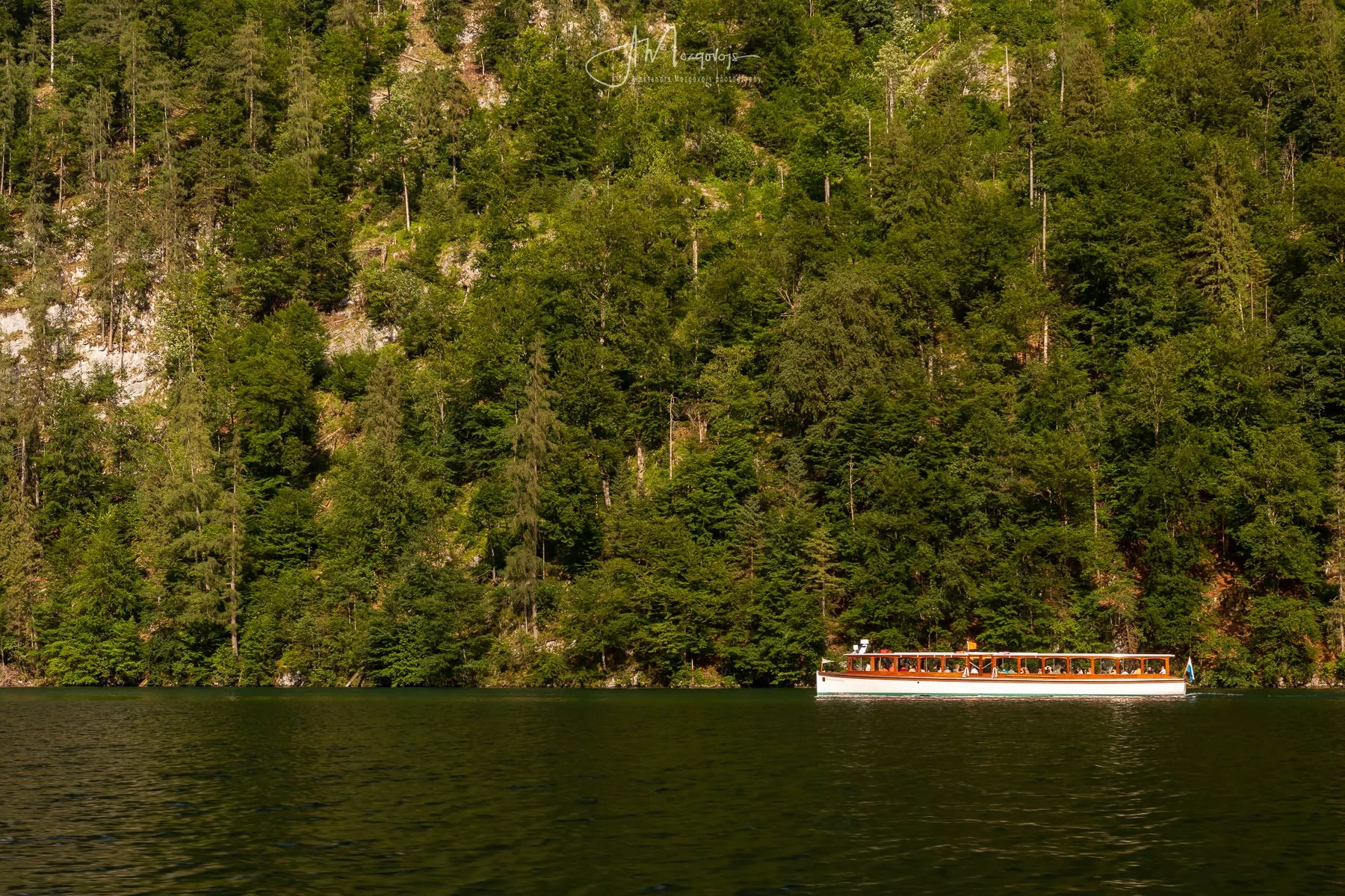 Boat crossing lake Königsee
