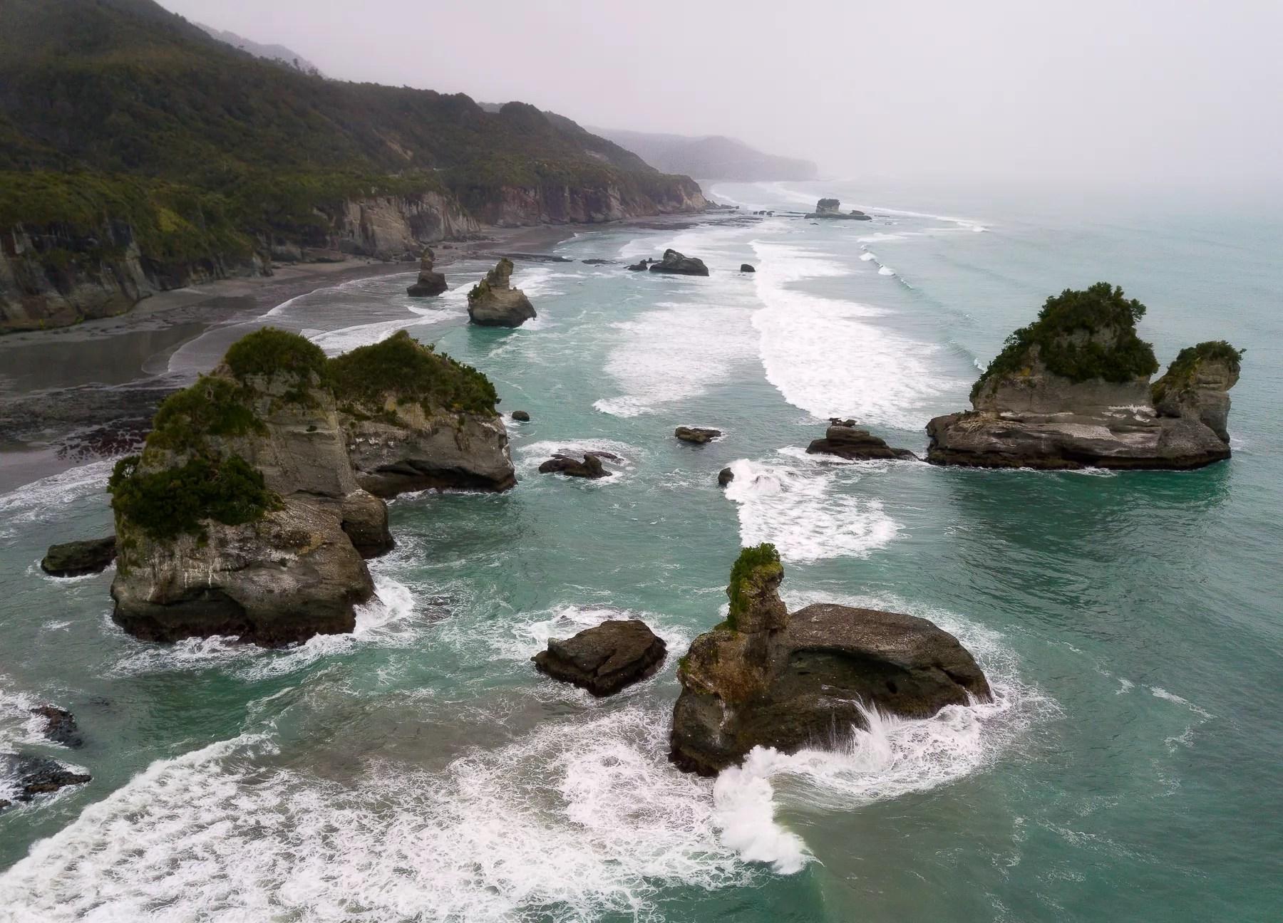 Motukiekie Beach on an overcast day