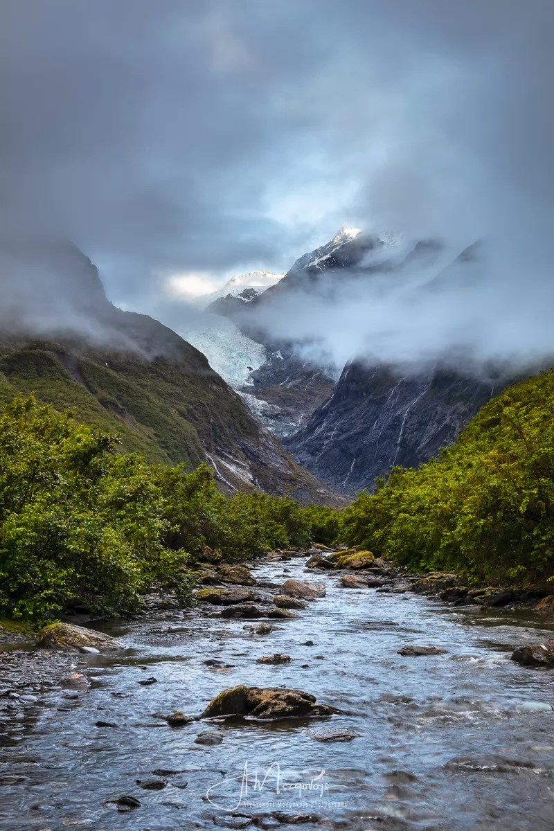 View of Franz Josef Glacier as clouds have lifted