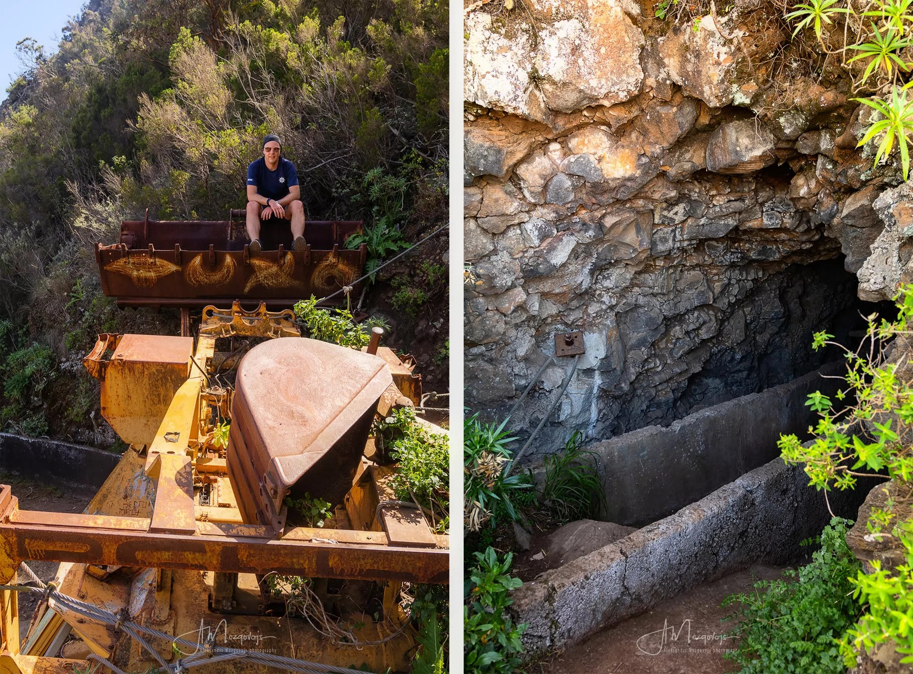 Photo on the excavator and the entrance to the first tunnel right behind it