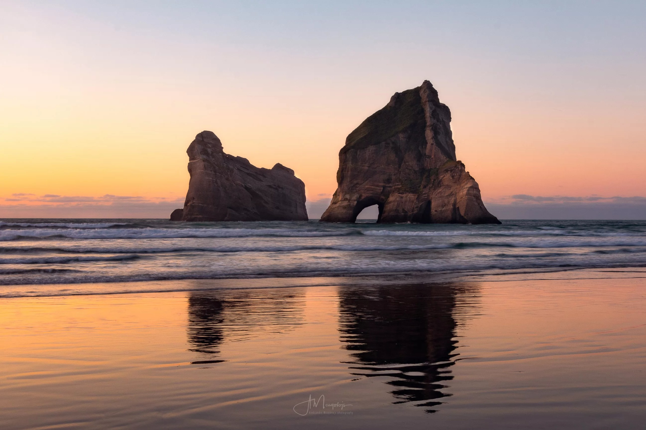 Sunset at Wharariki Beach