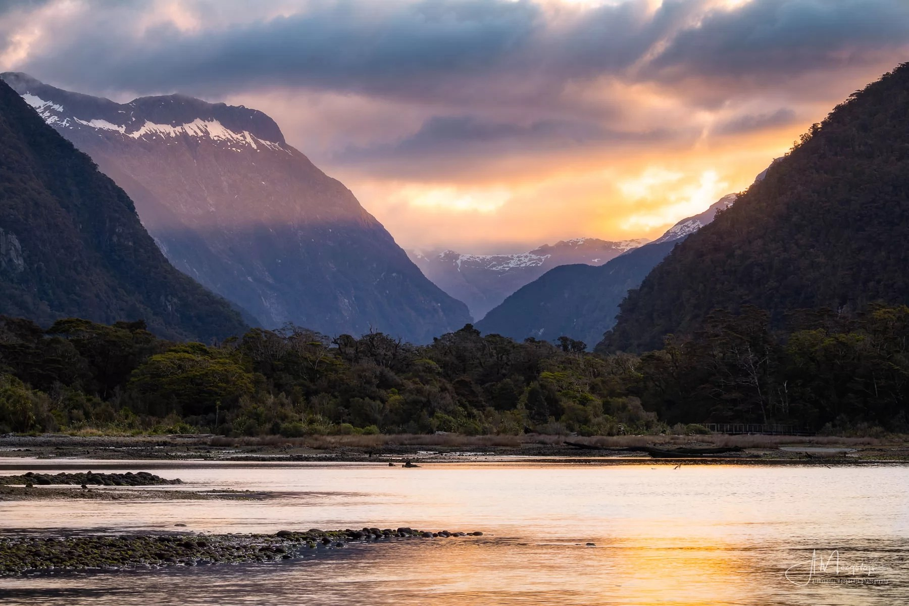 Burning sky in Milford Sound