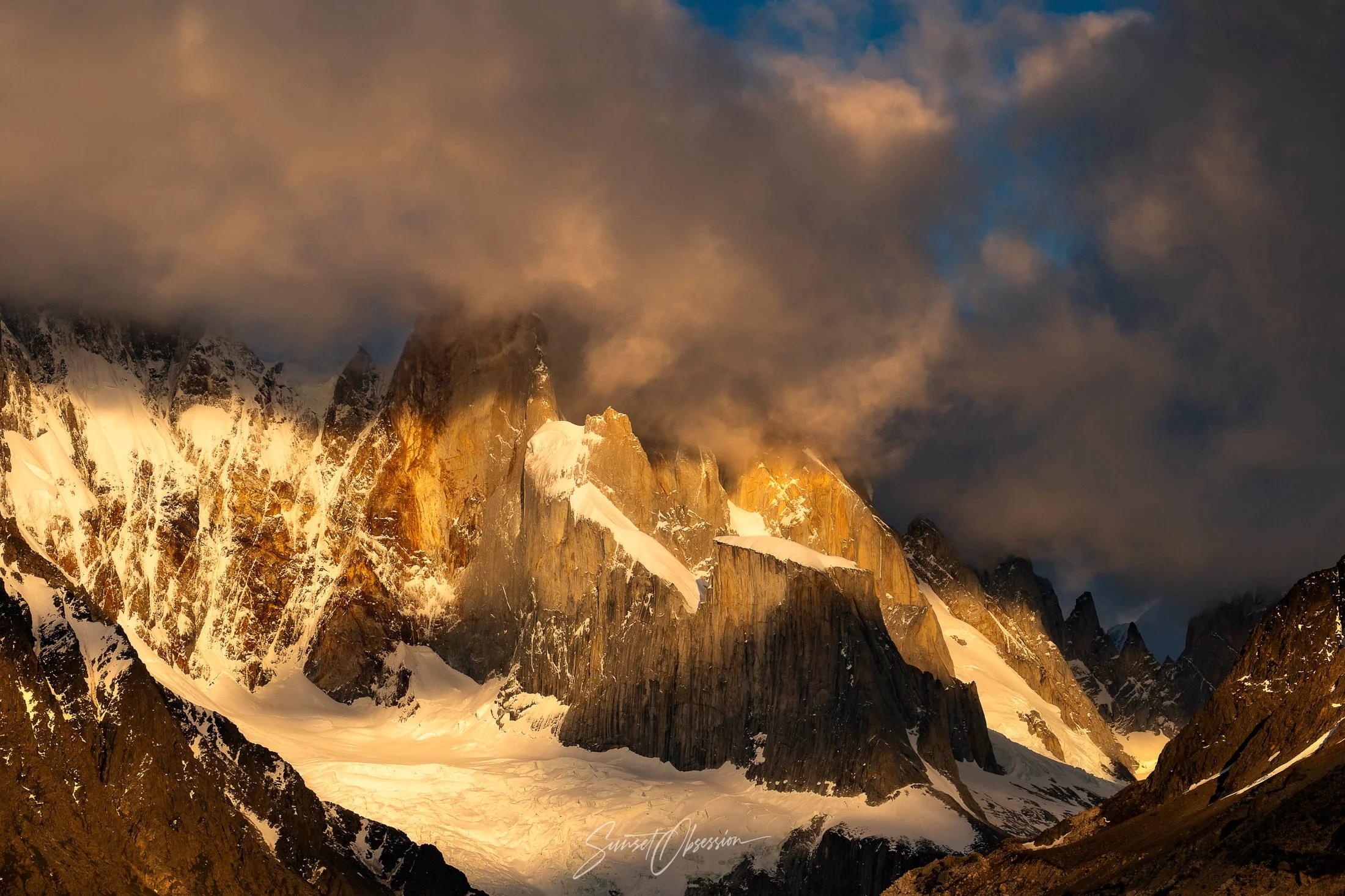 Golden sunrise light on Cerro Torre, Laguna Torre, Argentinean Patagonia