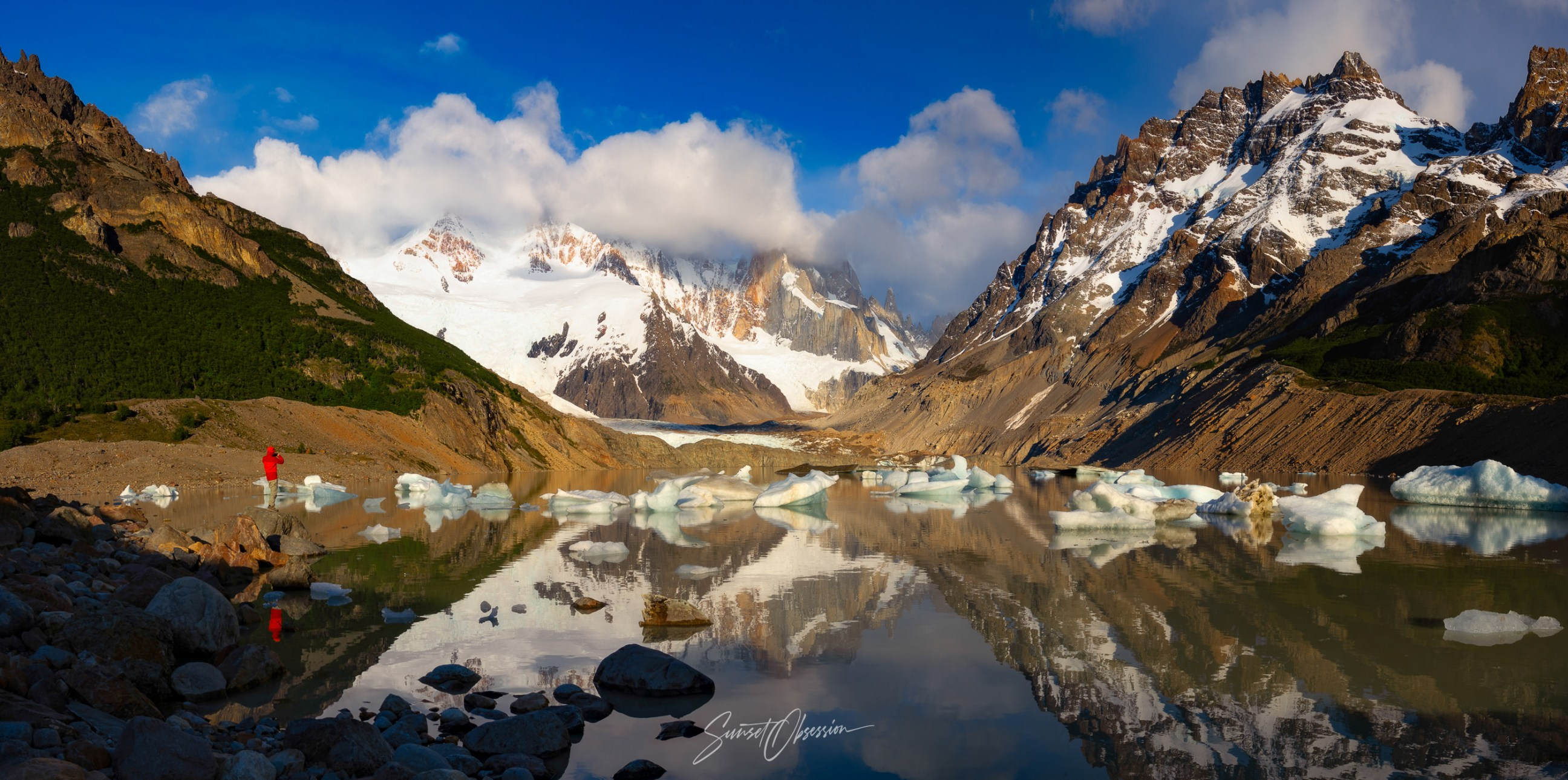 Early morning after a beautiful sunrise on Laguna Torre, Argentinean Patagonia