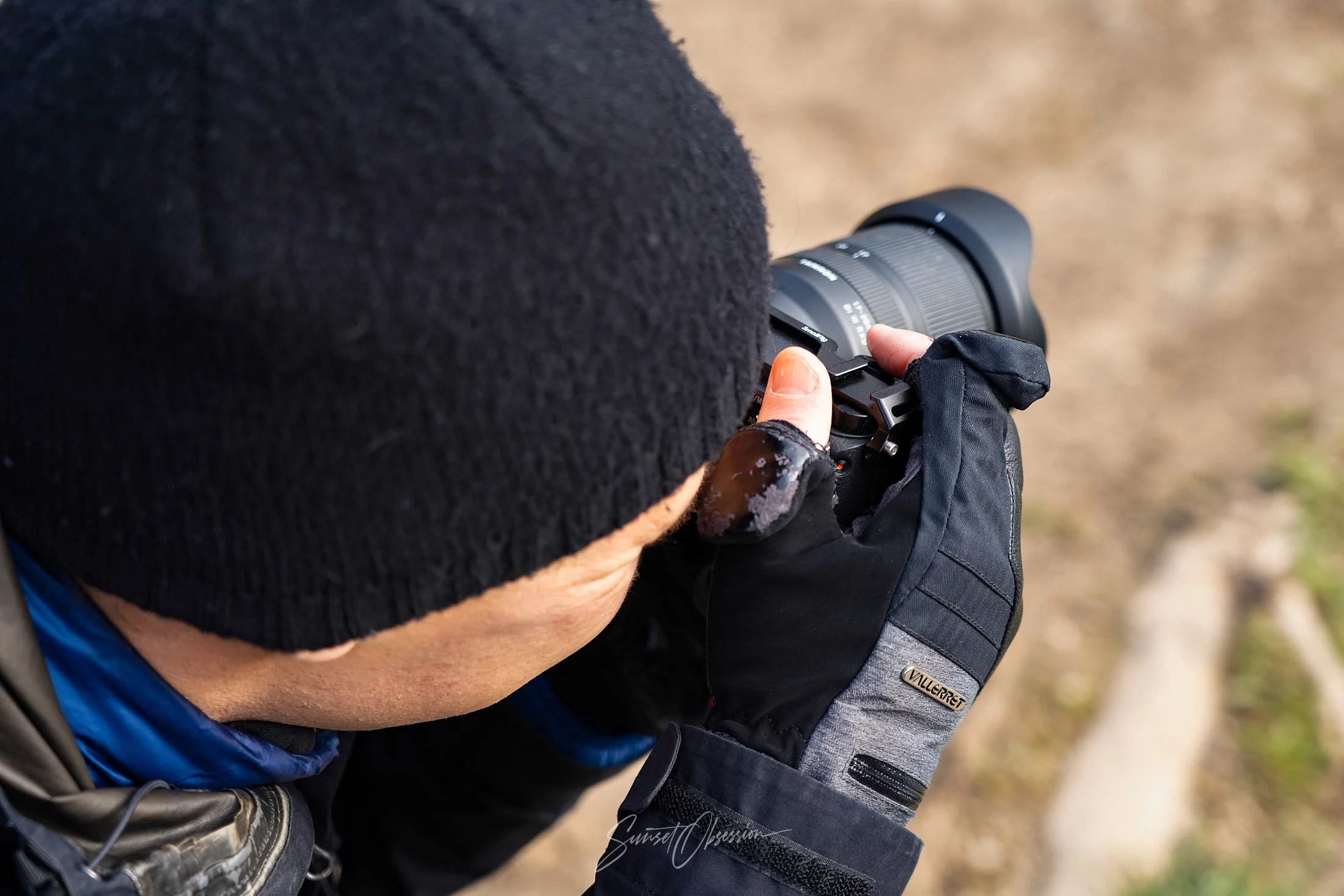 On a photoshoot with the Vallerret Markhof Pro 2.0 photography gloves