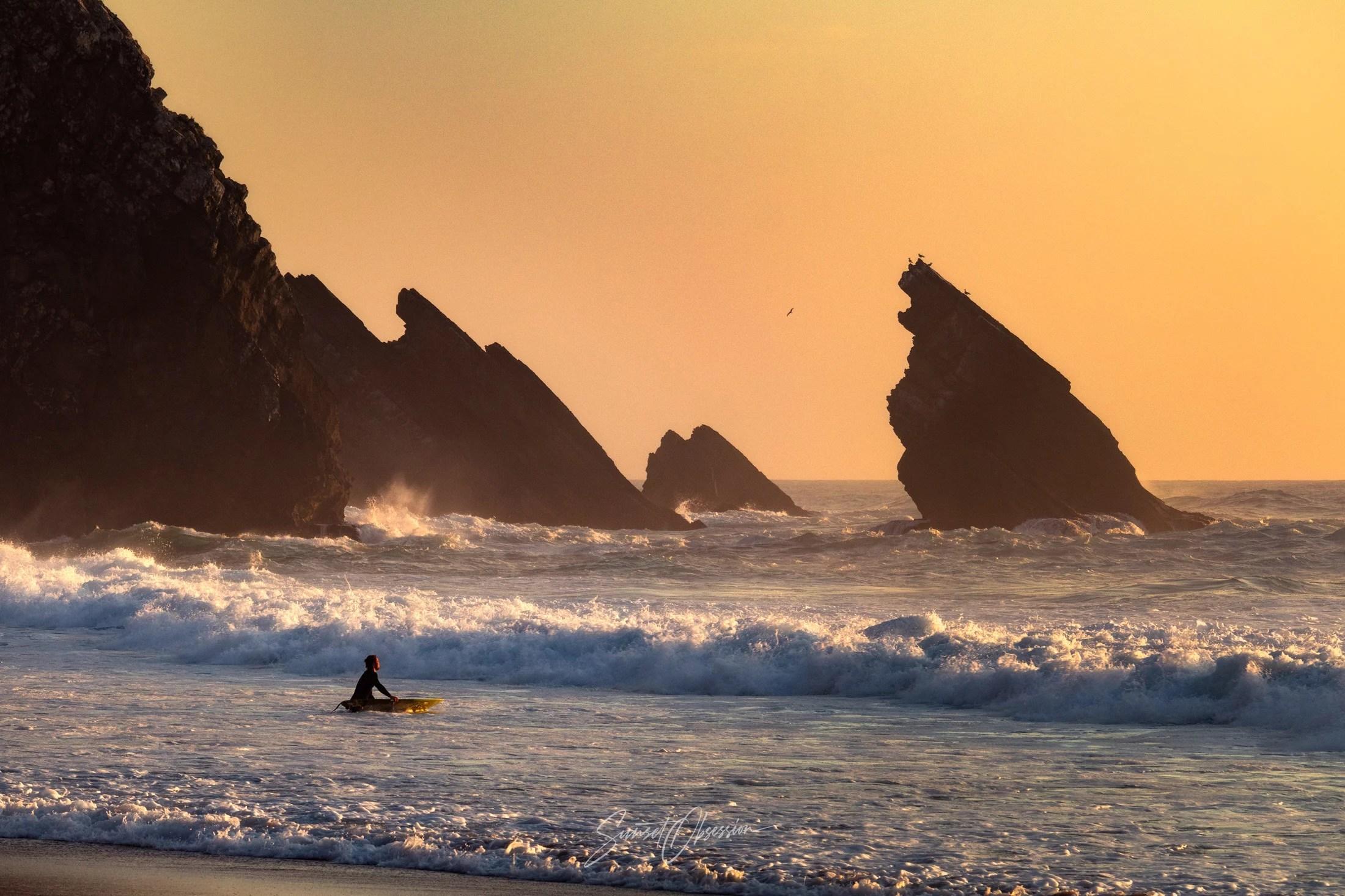 Praia da Adraga at sunset, Atlantic coast near Sintra