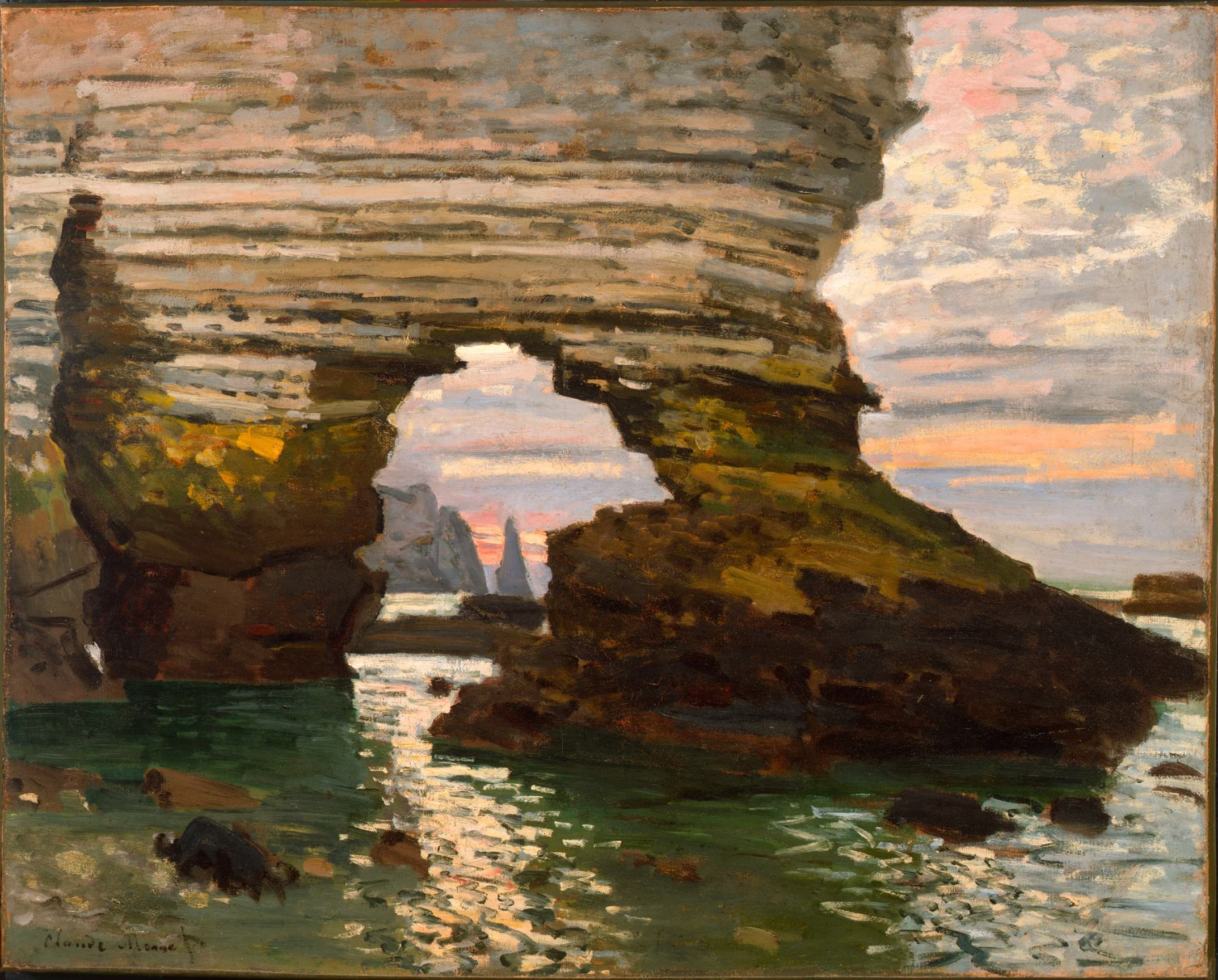 Monet painting of the Porte d'Amont Arch, 1869