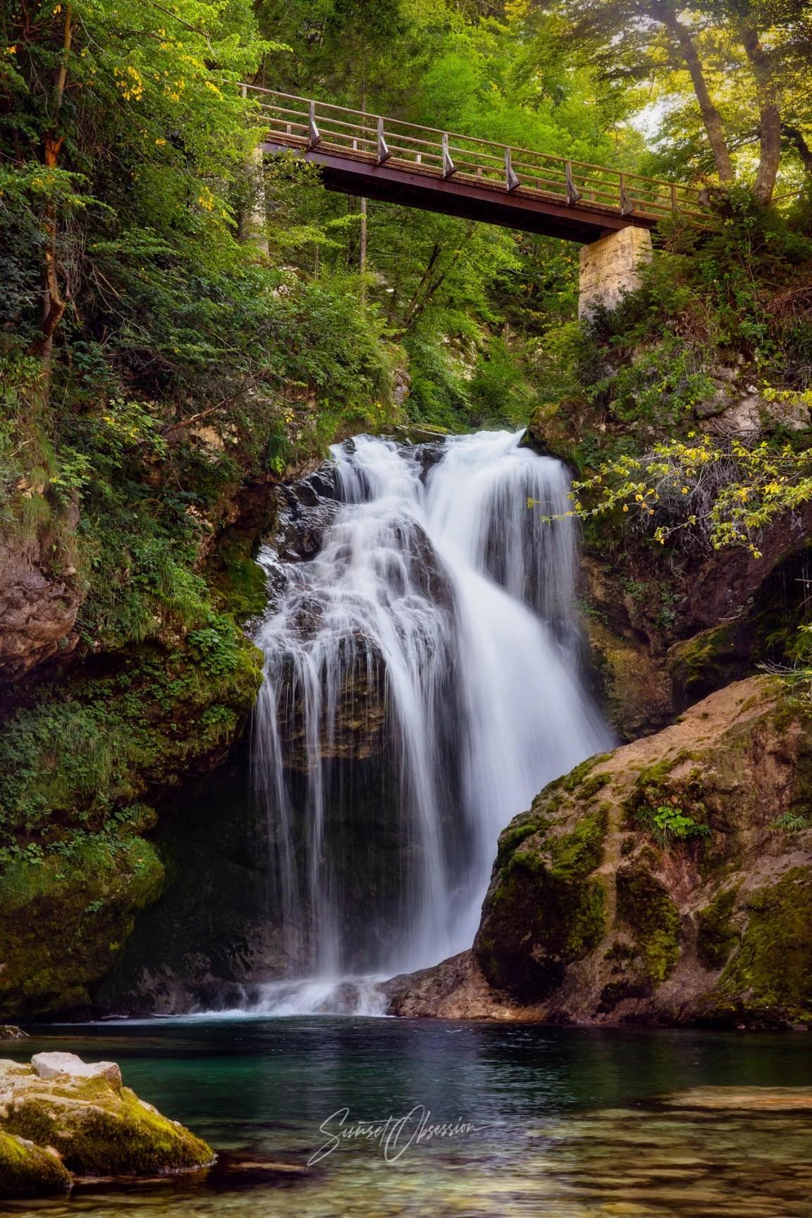 Šum Waterfall at the end of Vintgar Gorge, Slovenia