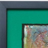 Detail, Babs Ludwick mixed media, framing by Lou Aliotta, Sunset River Marketplace, Calabash, NC