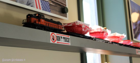 Toy train delivering food