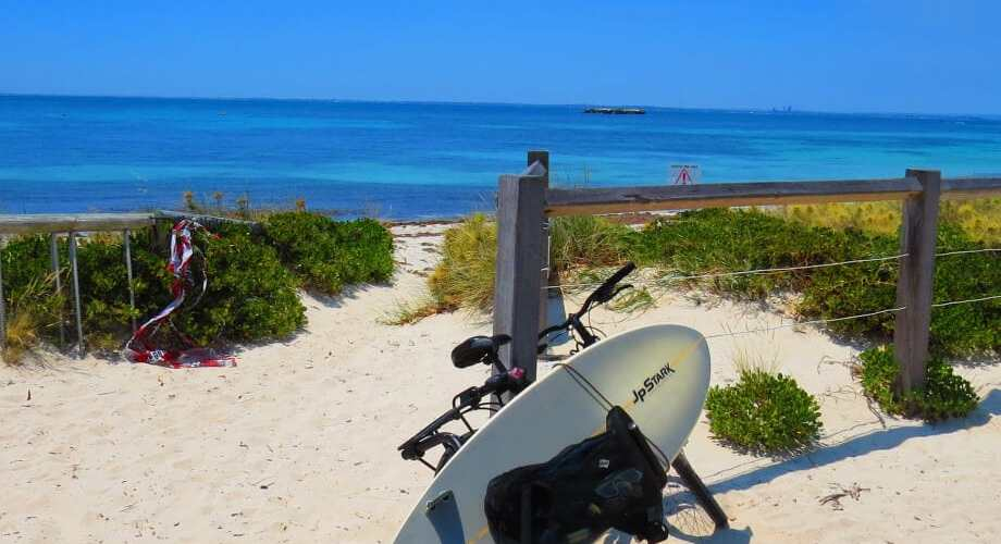 Rottnest Island picture with bicycle and surfboard