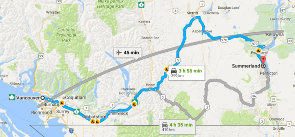 Canadian rockies road trip stop 1 Vancouver to Okanagan valley