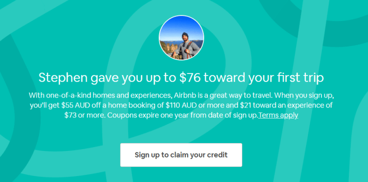 This is what the screen looks like on your airbnb coupon code page.