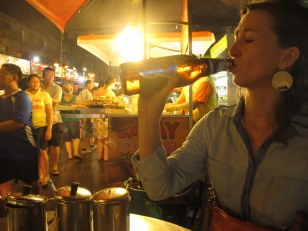Enjoying my Tiger Beer.