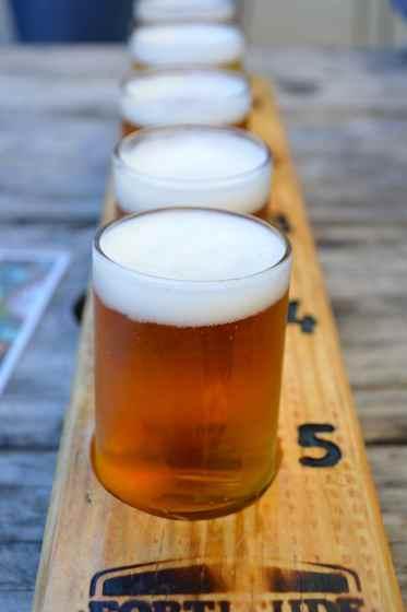 A tasting paddle at MT Beer