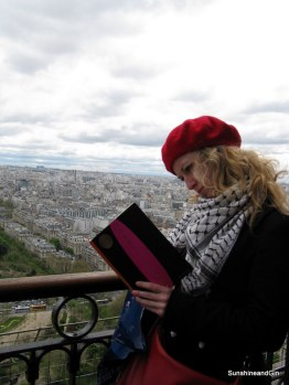 Birgit waiting to climb the Eiffel Towe, Paris
