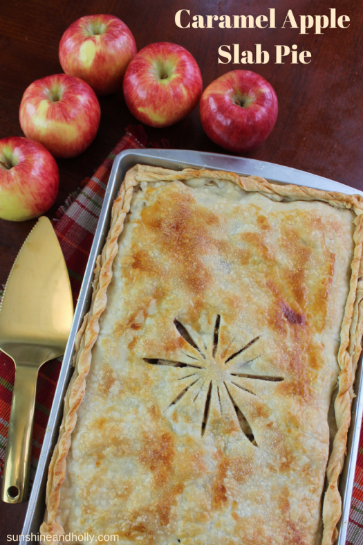 #ad Caramel Apple Slab Pie with Autumn Glory Apples | sunshineandholly.com | fall comfort foods | baking | #autumngloryapple