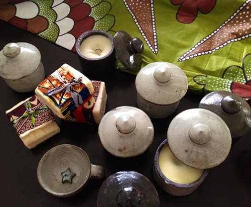 Bwari pottery, shea butter lotion and soap.