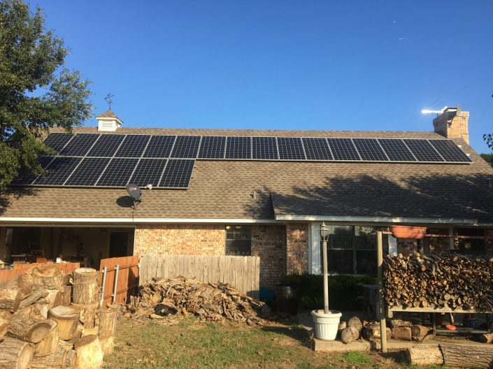 Solar panel roof mount installed on a home in Garland, TX