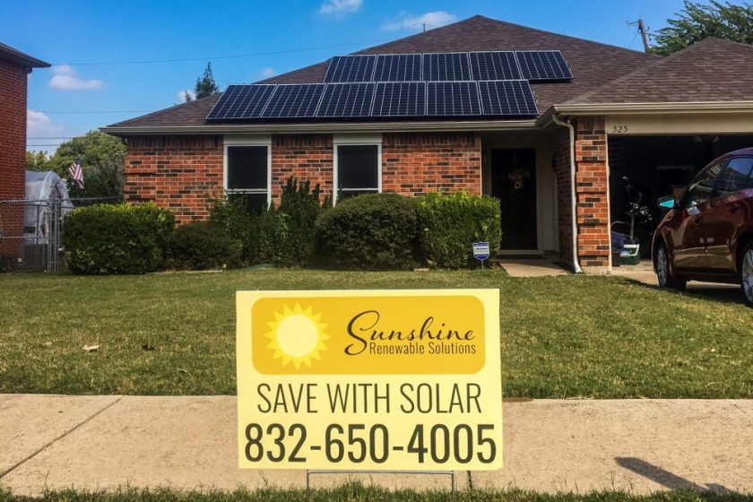 Sign advertising in front of Richardson Texas Solar Panel Installation