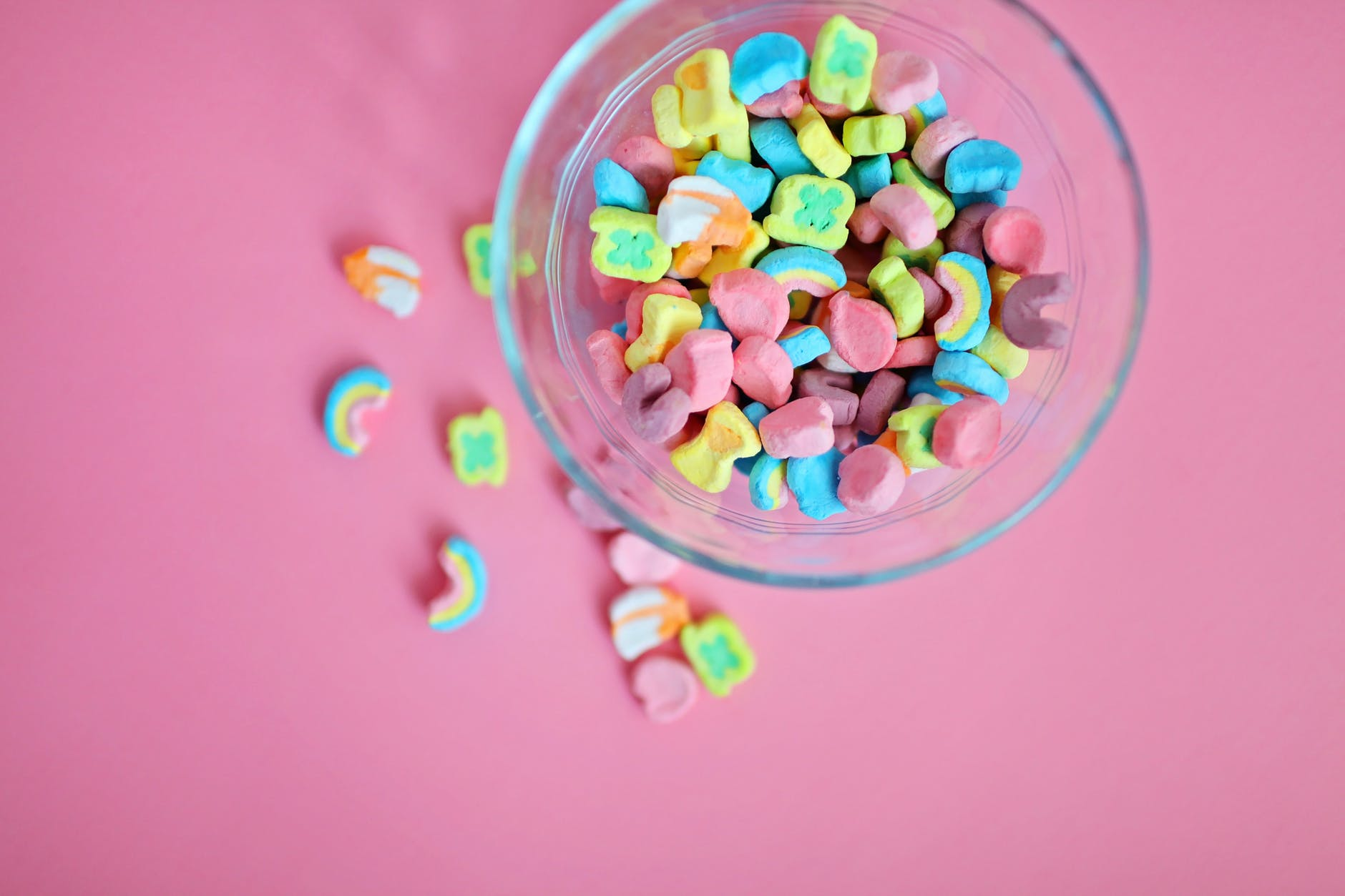 high angle view of multi colored marshmallows