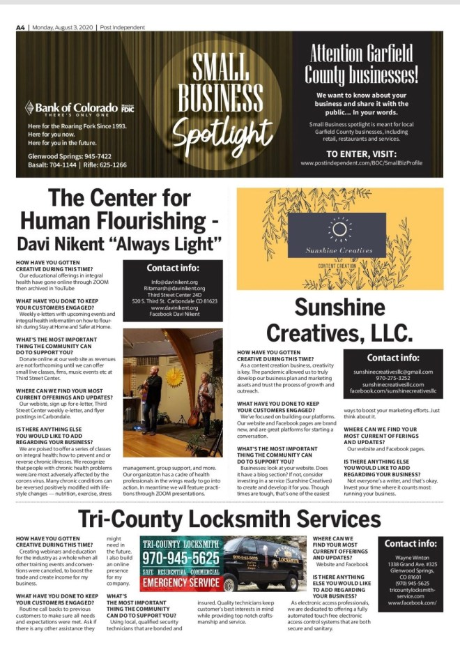 Sunshine Creatives in the Glenwood Springs Post Independent