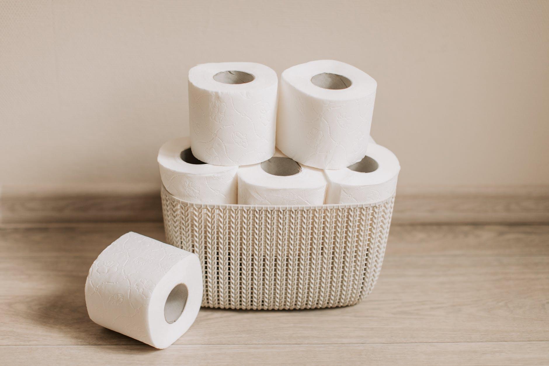 toilet paper rolls on basket