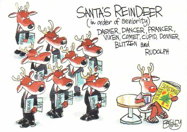 """A Sunstone Christmas card drawn by Pat Bagley. Inside, it read, """"The gospel sleigh is pulled by all kinds of reindeer."""""""