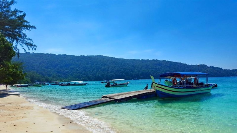 Perhentian Besar boats on beach
