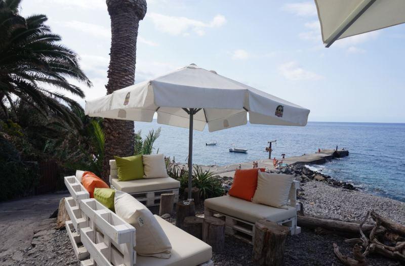 faja dos padres beach bar overlooking the sea
