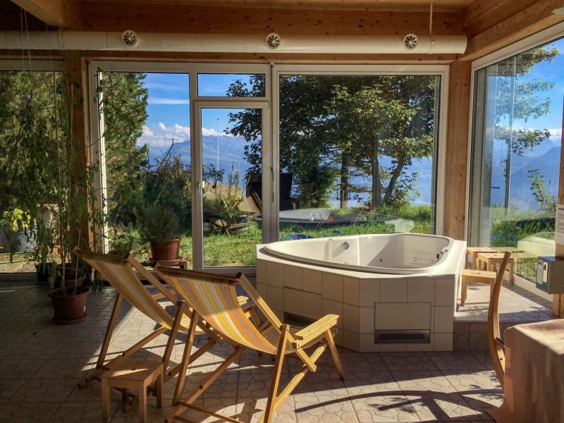 whirlpool jacuzzi overlooking the swiss alps