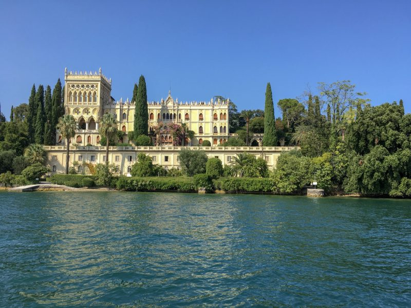 front view of isola del garda villa from lake garda