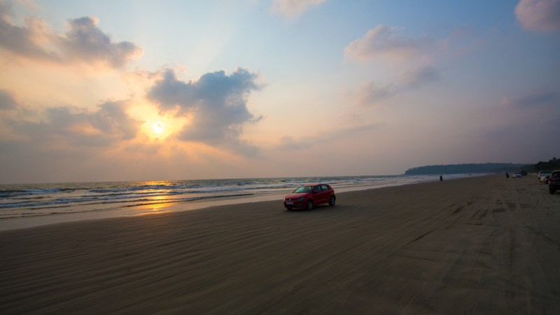 car driving on the beach on Muzhappilangad in Kerala